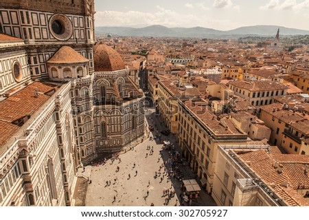 Cathedral Santa Maria Del Fiore with Giotto's Campanile at sunset in Florence, Italy - stock photo