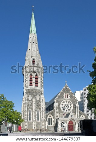 Cathedral Square in Christchurch, New Zealand - stock photo