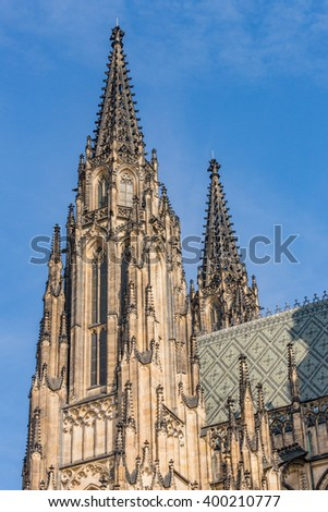 Cathedral steeple in Prague, Czech Republic - stock photo