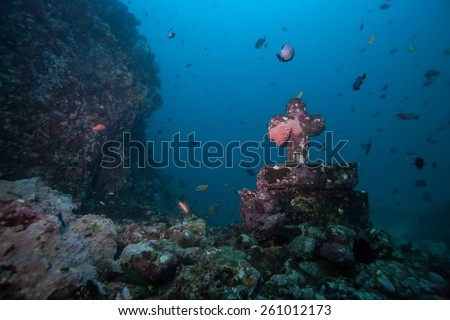 cathedral underwater - stock photo