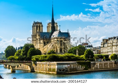 """Cathedrale Notre-Dame de Paris, """"Our Lady of Paris"""" is a beautiful cathedral on the Ile de la Cite in Paris.; is an important example of French Gothic architecture, sculpture and stained glass - stock photo"""