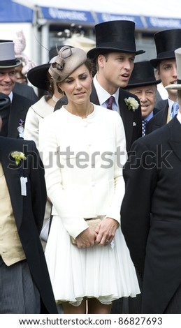 Catherine and William, Duke and Duchess of Cambridge attending The Epsom Derby Meeting at Epsom Downs Racecourse in Surrey. 4th June 2011.  05/06/2011  Picture by: Simon Burchell / Featureflash - stock photo
