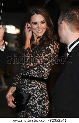 "Catherine, Duchess of Cambridge arriving for the premiere of ""War Horse"" at the Odeon Leicester Square, London. 09/01/2012  Picture by: Steve Vas / Featureflash - stock photo"