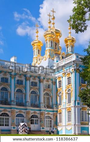 Catherine Palace in Tsarskoye Selo, St. Petersburg - stock photo