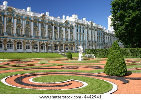 Catherine Palace is the Rococo summer residence of the Russian tsars, located in the town of Tsarskoye Selo (Pushkin), 25 km south-east of St. Petersburg, Russia. - stock photo