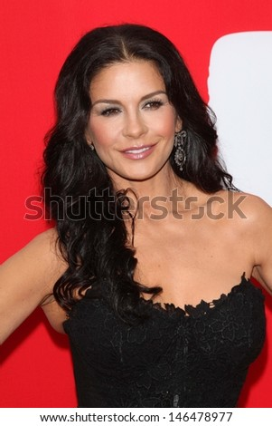 """Catherine Zeta-Jones at the premiere of Summit Entertainment's """"RED 2,"""" Village Theater, Westwood, CA 07-11-13 - stock photo"""