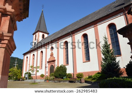 Catholic Church of St Symphorian in Zell am Harmersbach a small town and a historic Reichsstadt in Baden-Württemberg, Germany. - stock photo