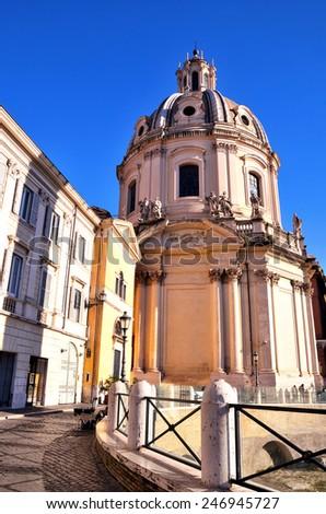 Catholic Church Ss. Name of Mary foro  traiano, Rome, Italy - stock photo