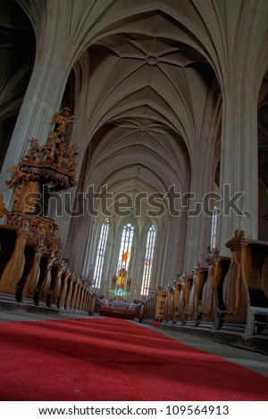 catholic church with red carpet - stock photo