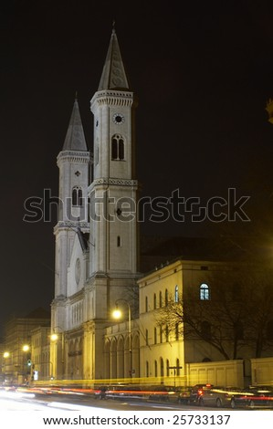 Catholic Parish and University Church St. Louis, called Ludwigskirche in Munich, Bayern, Germany. - stock photo