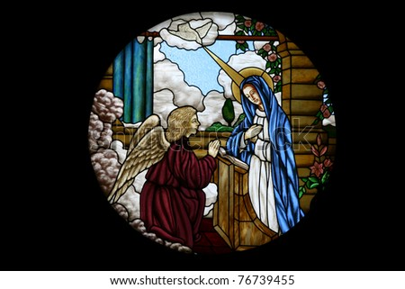 Catholic stained glass at Santa Cruz church, Bangkok, Thailand - stock photo