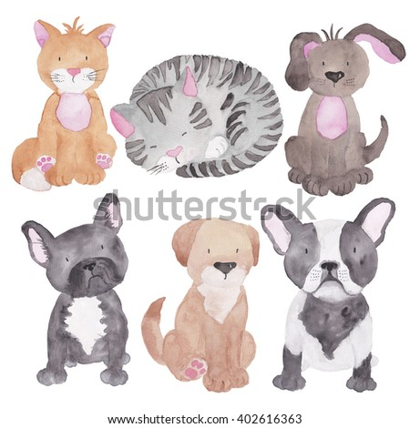 Cats and Dogs Watercolor Illustrations Set Isolated on the White - stock photo