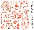 Cats doodle set funny cartoon - stock photo