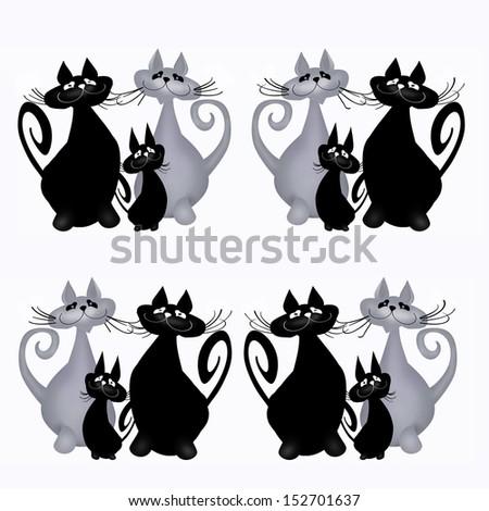 Cats. Illustration. White background. - stock photo