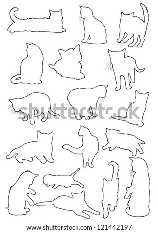 Cats silhouette line - stock photo