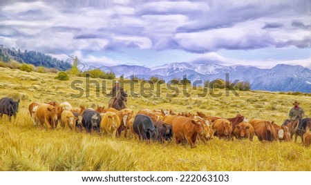 Cattle roundup in Montana - stock photo