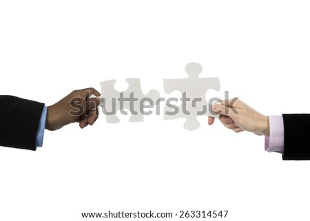 Caucasian and african descent women holding jigsaws - stock photo