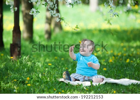 Caucasian baby boy plays in park - stock photo