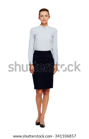 caucasian beautiful businesswoman office outfit standing, isolated on white background - stock photo