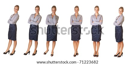 Caucasian blond businesswoman in suit on white isolated background  different poses - stock photo