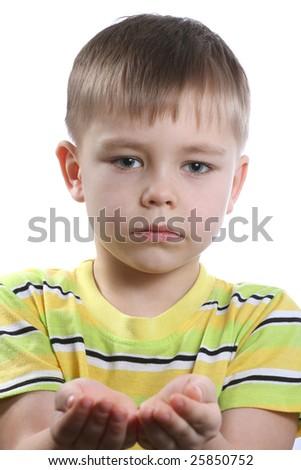 Caucasian boy isolated on white - stock photo