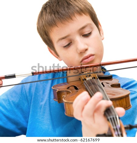 caucasian boy learning to play violin, isolated on white background, square crop - stock photo