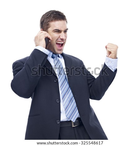 caucasian business person talking on cellphone, excited, rejoicing, isolated on white background. - stock photo