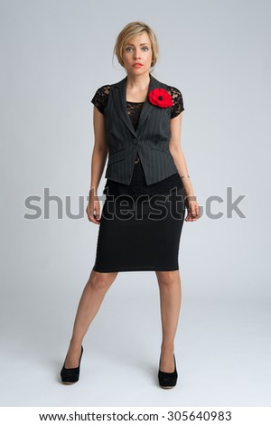 Caucasian business woman isolated ongray background in full body - stock photo