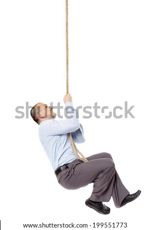 Caucasian businessman climbing on a rope against white background, with lots of copyspace - stock photo