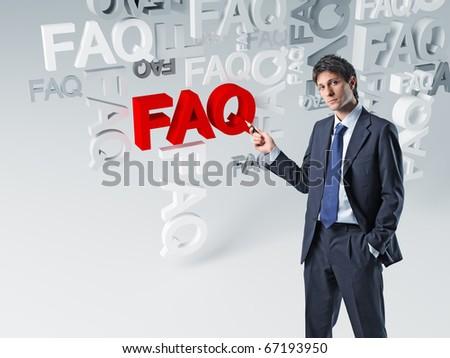 caucasian businessman show 3d faq background - stock photo