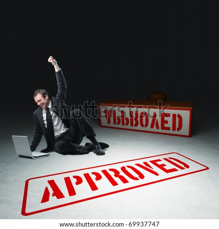 caucasian businessman with laptop and approved stamp 3d - stock photo