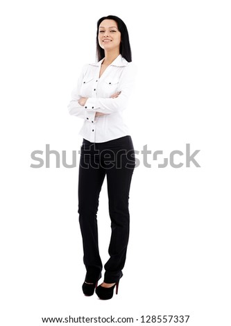 Caucasian businesswoman in full length pose isolated on white background. Arms crossed - stock photo
