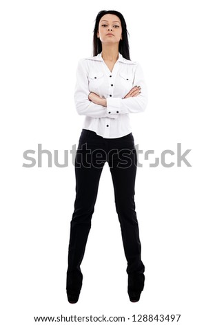 Caucasian businesswoman in full length pose isolated on white background. Bossy attitude. Business concept - stock photo