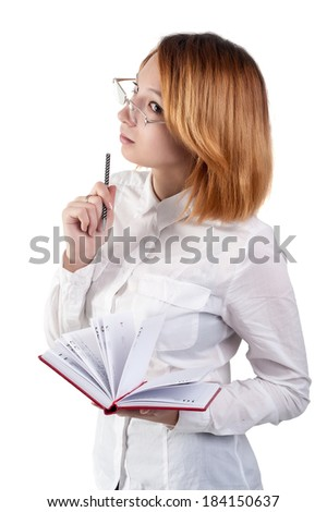 caucasian businesswoman standing in casual clothes and working with dayly log - stock photo