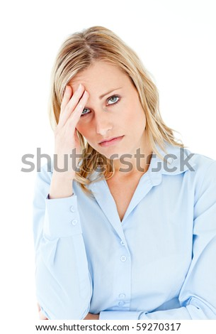 Caucasian businesswoman with a headache looking at the camera against white background - stock photo