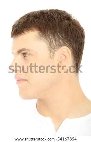 Caucasian casual man portrait - isolated over a white background - stock photo