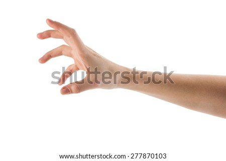 Caucasian female hand to grab objects, isolated on white - stock photo