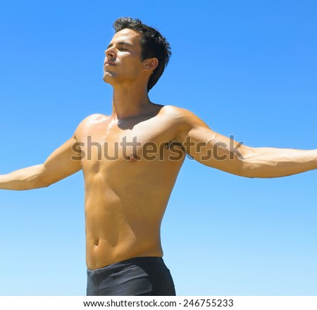 caucasian fit man  - stock photo