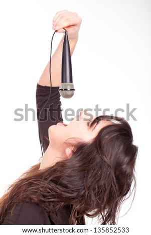 caucasian girl singing - stock photo