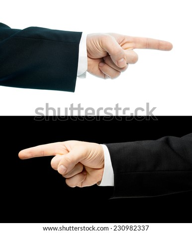 Caucasian hand in a business suit, pointing with an index finger gesture sign, set of two versions, isolated over the white and black background - stock photo