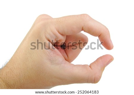 Caucasian hand showing a tiny size sign isolated on white background. Hand gesture - stock photo