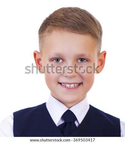 Caucasian happy school boy, isolated on white background - stock photo