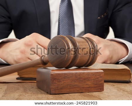 Caucasian lawyer in court.  Law concept - stock photo