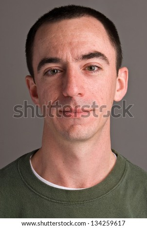 Caucasian Male Headshot Looking Foward - stock photo