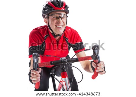 Caucasian Man Athlete cyclist. Portrait of a bicycle part. Cycling. Silhouettes on a white background isolated. - stock photo