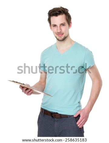 Caucasian man hold with clipboard - stock photo