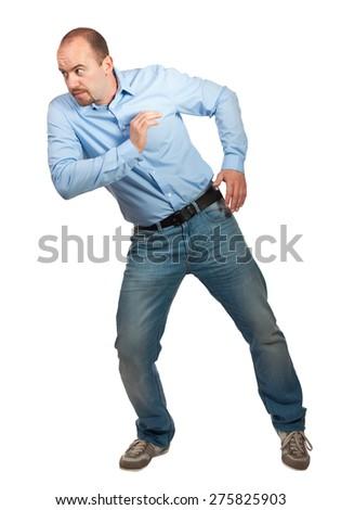 caucasian man portrait push pose on white - stock photo