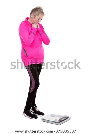 caucasian middle aged woman on white background - stock photo