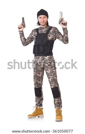 Caucasian soldier with handgun isolated on white - stock photo