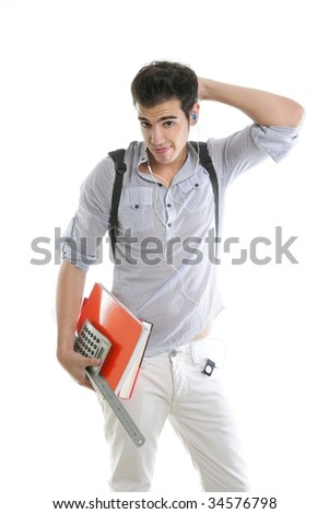 Caucasian student worried with negative gesture isolated on white - stock photo